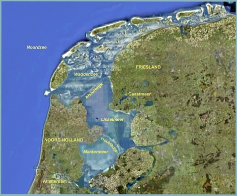 Map showing the Waddenzee, the IJsselmeer and the Markermeer, after the division and subdivision of the Zuiderzee, and showing Gaastmeer, Friesland where Nieuwe Zorg was built.